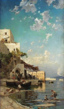 Hermann David Salomon Corrodi Painting - abendliches treffen der fischer Hermann David Salomon Corrodi orientalist scenery