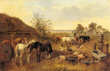 horse Art Painting - A Farmstead John Frederick Herring Jr horse