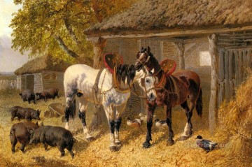 The Farmyard2 John Frederick Herring Jr horse Oil Paintings