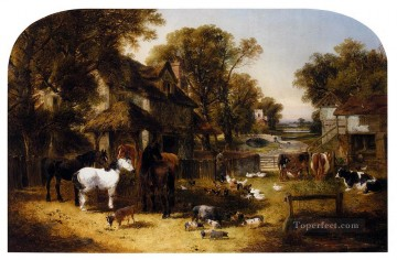 horse racing Painting - An English Farmyard Idyll John Frederick Herring Jr horse
