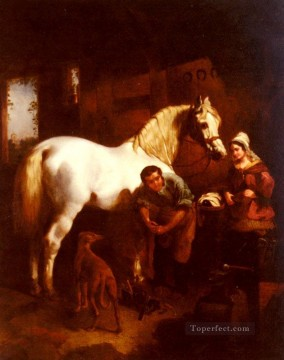 red Oil Painting - The Village Blacksmith Herring Snr John Frederick horse