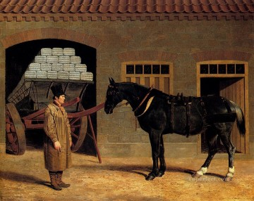 A Cart Horse And Driver Outside A Stable Herring Snr John Frederick horse Oil Paintings