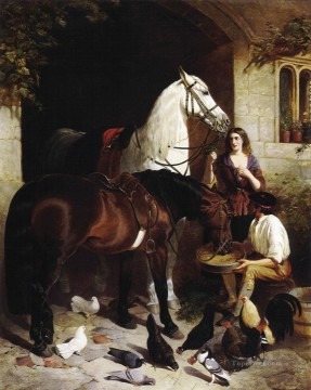 horse canvas - Feeding the Arab 2 Herring Snr John Frederick horse
