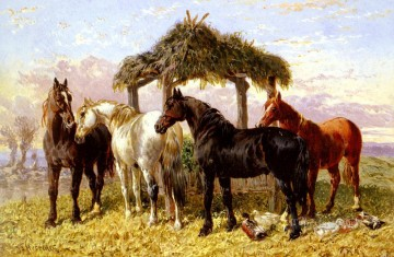 Red Art - Horses And Ducks By A River Herring Snr John Frederick