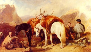 red Oil Painting - Senior John Frederick Herring The Halt Herring Snr John Frederick horse