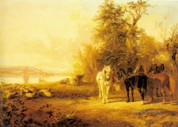 horse Art Painting - Waiting For The Ferry Herring Snr John Frederick horse