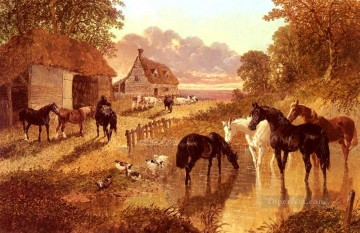 The Evening Hour Herring Snr John Frederick horse Oil Paintings