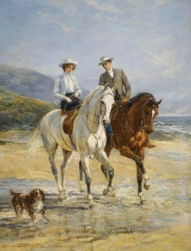 Stile Painting - Couple Meeting By The Stile Heywood Hardy horse riding