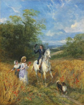 A passing greeting Heywood Hardy horse riding Oil Paintings