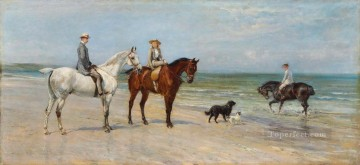 The Leney Family Out Riding With Two Dogs On The Kentish Coast Heywood Hardy horse riding Oil Paintings