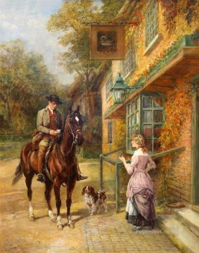post impressionist Painting - The village postman Heywood Hardy horse riding