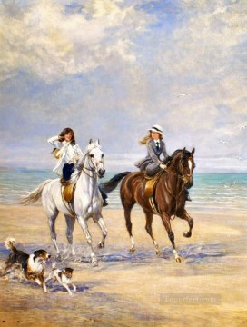 equestrienne seaside Heywood Hardy horse riding Oil Paintings