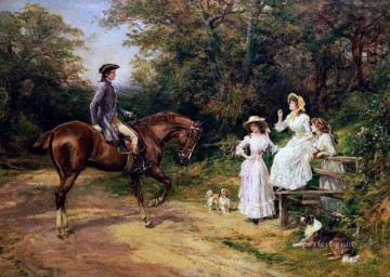 Stile Painting - A Meeting by The Stile Heywood Hardy horse riding