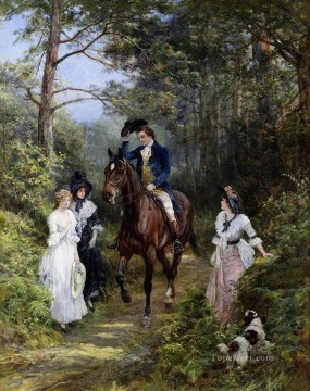 The meeting in the Forest Heywood Hardy horse riding Oil Paintings