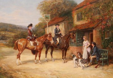 hunters guest rural Heywood Hardy horse riding Oil Paintings