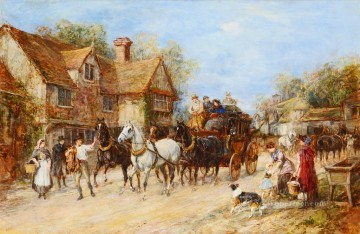 Changing the Horses Heywood Hardy horse riding Oil Paintings