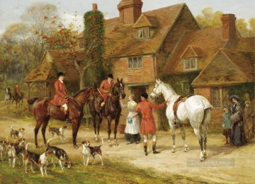 THE STIRRUP CUP Heywood Hardy horse riding Oil Paintings
