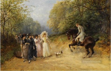 THE UNWANTED CHAPERONE Heywood Hardy horse riding Oil Paintings