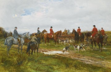 GATHERING FOR THE HUNT 2 Heywood Hardy horse riding Oil Paintings