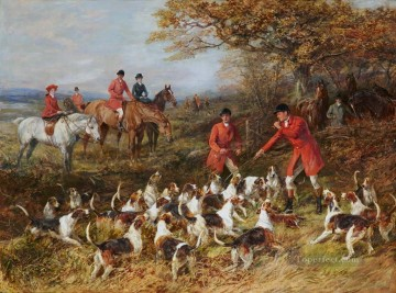 Hunters and hounds Heywood Hardy horse riding Oil Paintings