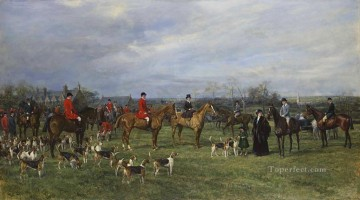 Meet of the Quorn Hounds at Kirby Gate Heywood Hardy horse riding Oil Paintings