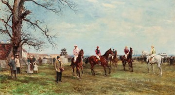 The start of the Catterick Steeplechase Heywood Hardy horse riding Oil Paintings