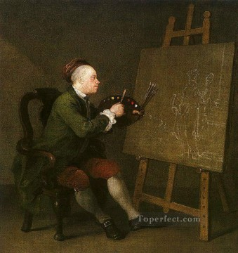 william art painting - Self Portrait at the Easel William Hogarth