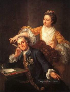 David Art Painting - David Garrick and his Wife William Hogarth