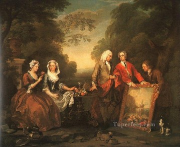 fountain Painting - The Fountaine Family William Hogarth