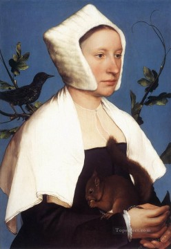 Hans Deco Art - Portrait of a Lady with a Squirrel and a Starling Renaissance Hans Holbein the Younger