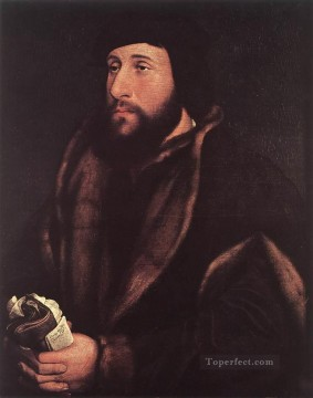 Love Painting - Portrait of a Man Holding Gloves and Letter Renaissance Hans Holbein the Younger