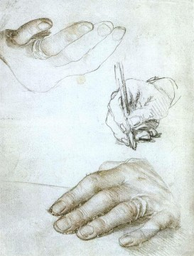 Hans Canvas - Studies of the Hands of Erasmus of Rotterdam Renaissance Hans Holbein the Younger