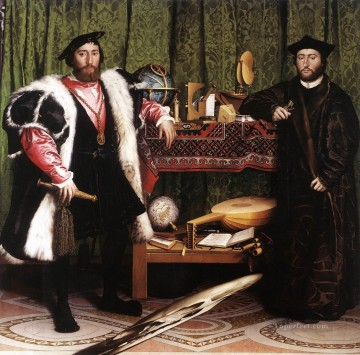 Jean de Dinteville and Georges de Selve The Ambassadors Renaissance Hans Holbein the Younger Oil Paintings