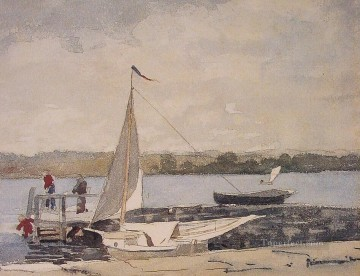 marine Oil Painting - A Sloop at a Wharf Gloucester Realism marine painter Winslow Homer