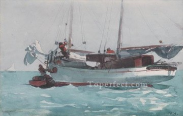 marine Oil Painting - Taking On Wet Provisions Realism marine painter Winslow Homer