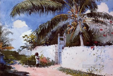 garden Oil Painting - A Garden in Nassau Realism painter Winslow Homer