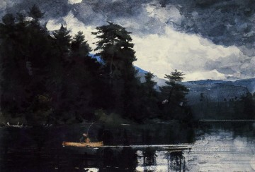Lake Oil Painting - Adirondack Lake Realism painter Winslow Homer