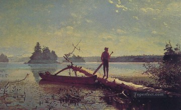 Lake Oil Painting - An Adirondack Lake Realism marine painter Winslow Homer