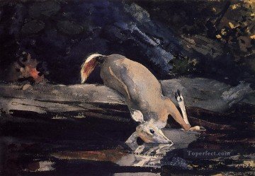 Winslow Homer Painting - Fallen Deer Realism painter Winslow Homer