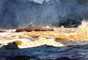marine Oil Painting - Fishing the Rapids Saguenay Realism marine painter Winslow Homer