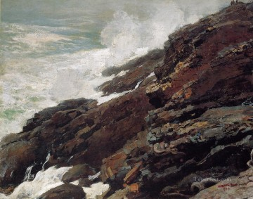 Coast Painting - High Cliff Coast of Maine Realism painter Winslow Homer