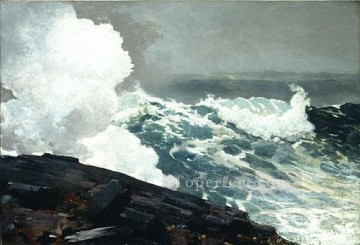 The Blue Boat Realism marine painter Winslow Homer Painting in Oil ...