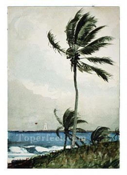 Tree Painting - Palm Tree Realism marine painter Winslow Homer