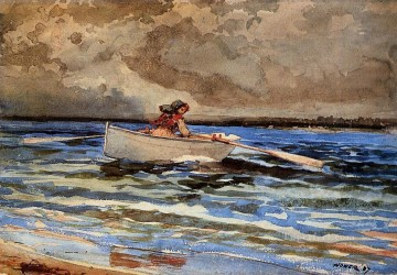 marine Oil Painting - Rowing at Prouts Neck Realism marine painter Winslow Homer
