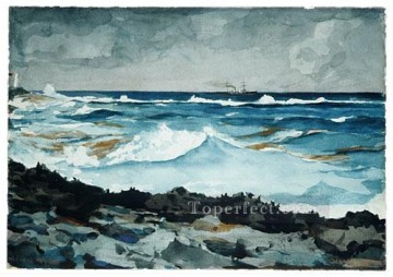 Winslow Homer Painting - Shore And Surf Nassau Realism marine painter Winslow Homer