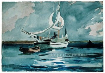 marine Canvas - Sloop Nassau Realism marine painter Winslow Homer