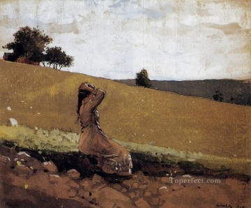 aka Works - The Green Hill aka On the Hill Realism painter Winslow Homer