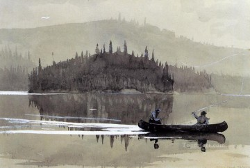 Winslow Homer Painting - Two Men in a Canoe Realism marine painter Winslow Homer