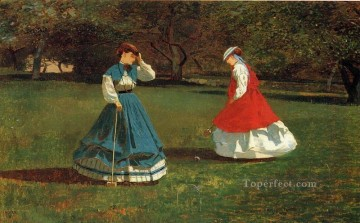 Winslow Homer Painting - A Game of Croquet Realism painter Winslow Homer