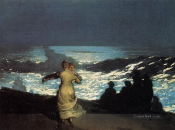 marine Canvas - A Summer Night Realism marine painter Winslow Homer
